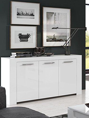 Furniturefactor 006620bo - Credenza Cubo Alpine, colore: bianco lucido