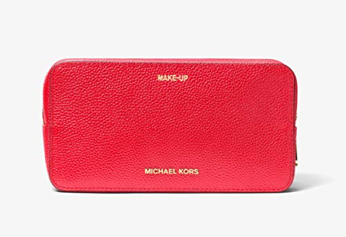 Michael Kors Mercer Large Double Zip Leather Cosmetic Travel Pouch - Dark Sangria -