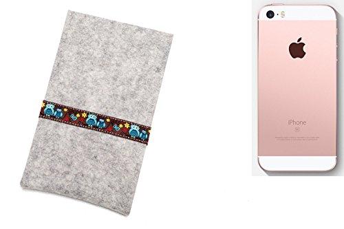 """flat.design Filzhülle """"Lisboa"""" für Apple iPhone SE - passgenaue Handytasche aus 100% Wollfilz (anthrazit) - made in Germany Schutz Case für Apple iPhone SE Eulen - hellgrau"""