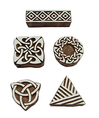 ANHANDICRAFTS Wooden Printing Stamp, Wooden Printing Blocks, Textile Printing Blocks (Set of 5 pcs)
