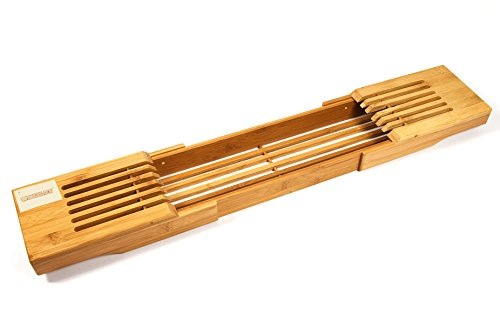 woodluv Elitehousewares Lot de Pont de Bain Extensible en Bambou étagère étagère pour Baignoire