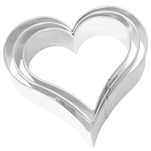Birkmann 1010706610 Ausstechform Herz, 3-Fach Terrasse, Kunststoff, Grau, 5 x 3 x 2 cm