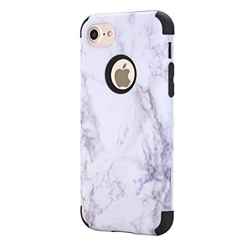 iPhone 7 Hülle,Fallschutz Hülle für iPhone 7,Ekakashop Modisch Grau Marmor Muster Dual Layer Outdoor Hybrid Armor Schneedicht Shockproof Silikon Defender Protective Schutzhülle Stoßfest Praktisch Rück Schwarz Marmor