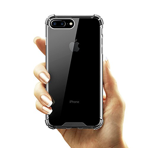 "Egotude Hard Back Shock Proof Silicone Bumper Cover Case for Apple iPhone 7 Plus & 8 Plus 5.5"" (Clear Transparent)"