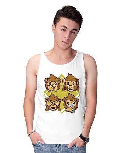 BLAK TEE Cute Monkey Reaction Faces Illustration Herren Tank Top S