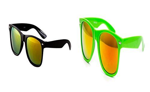 2 er Set Nerd Sonnenbrille Nerd Brille Feuer verspiegelt Schwarz + Hell Grün