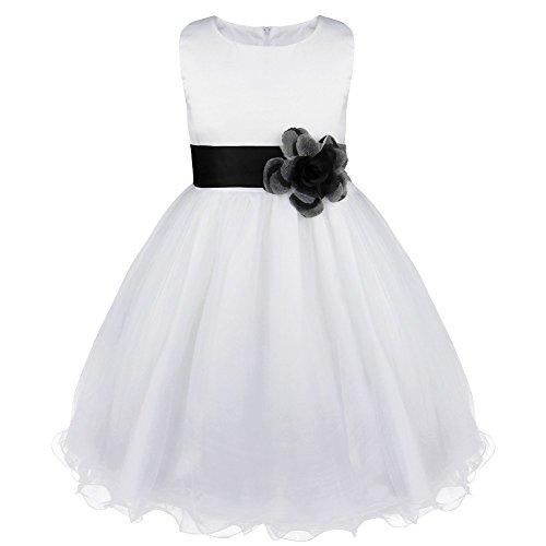 Tiaobug Kinder Kleid Blumen-Mädchen Kleidung Hochzeit Festlich 92 98 104 110 116 128 140 152 164 Schwarz 152