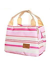 QHGstore Bolsa de almuerzo aislada Bolsas de lona de rayas de lona Bolsa de picnic para niños Bolsa de picnic Rosa / blanco