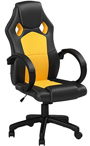 Silla gaming amarilla en cuero sintético estilo deportivo