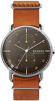 ساعة انالوج بسوار جلد ومينا بلون اسود للرجال من سكاجين- SKW6537