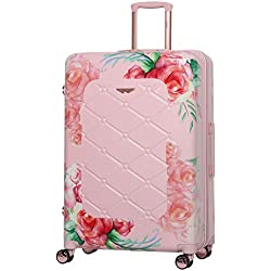 Aerolite 79cm Bagage de Soute Valise Rigide à 4 roulettes en Polycarbonate, Floral Rose