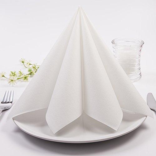 Sovie HORECA Airlaid-Servietten 40x40 cm | hochwertige Einweg-Servietten | extrem saugstark und stoffähnlich | ideal für Hochzeit & Partys | 50 Stück | Weiß