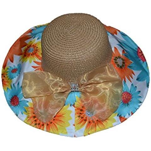 Pisco 'Summer ala ancha Sun Beach Sombrero de Paja con lazo y el ala con flor, caqui