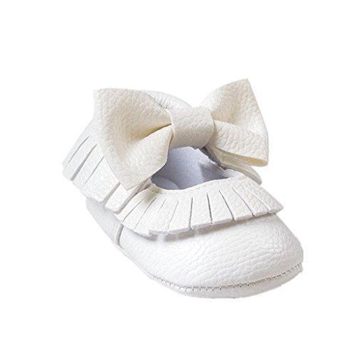 Babyschuhe Auxma Bebê Sapatos Macios Bowknot Para 0-12 Meses (13 8-12 M, Preto) Branco