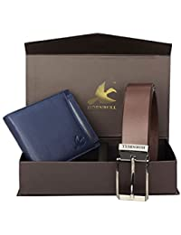 Hornbull Men's Blue Wallet and Brown Belt Combo BW9292