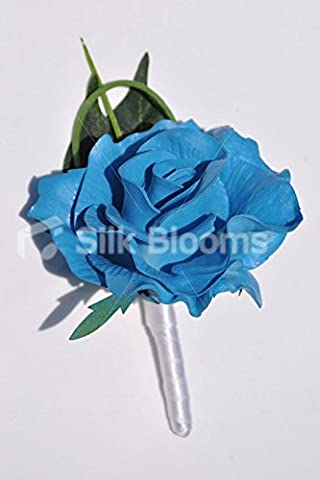 Bright turquoise Fresh Touch Rose Mariage Boutonnière