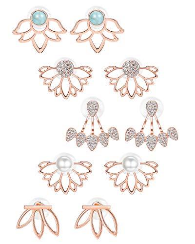 BESTEEL 5Pairs Lotus Flower Orecchini Jacket per Donne Ragazze Simple Chic Orecchini Lobo Perle Turchese CZ Orecchini Set