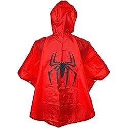 Spiderman Niños Lluvia Poncho Cape Rojo–Talla única para colgar–Lluvia Poncho Super Heroes abrigo con capucha Spider-man Joven Lluvia Para Super Héroes Chubasquero–King Mungo–kmsp003