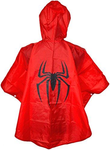 Spiderman Kinder Regenponcho Cape Rot - Einheitsgröße Umhänge - Regen Poncho Superheroes mit Kaputze Spider-man Jungen Regenmantel für Superhelden Regencape - King Mungo - (Rotes Cape Superman)