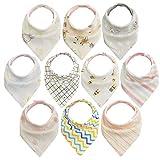 10pcs Baberos Bebe Baberos Bandanas, 100% algodón orgánico, suave y absorbente, Bebé Babero Bandana para recién nacidos bebé y niños