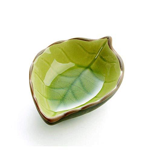 Jamisonme Leaf Blattförmige Platte, Mini-Vorspeise Teller Keramik-Schälchen Küche Mehrzweck-Saucenschale Eisriss Glasur Würzsauce Essig Geschirr (Grün)