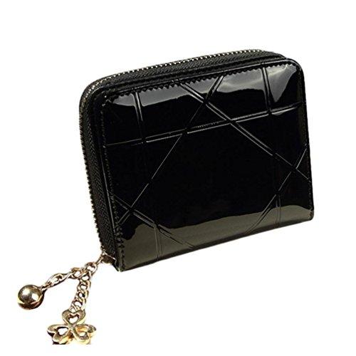 bolsos de las mujeres, FEITONG Señora mujeres del embrague del monedero de la carpeta del sostenedor corta la tarjeta del bolso Pequeño (Negro)