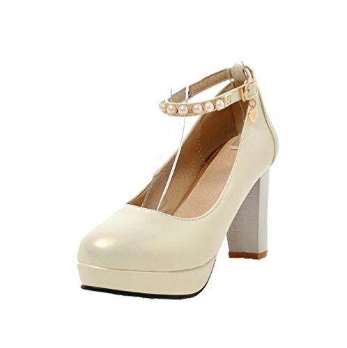 VogueZone009 Damen Pu Leder Hoher Absatz Rund Zehe Eingelegt Schnalle Pumps Schuhe Cremefarben