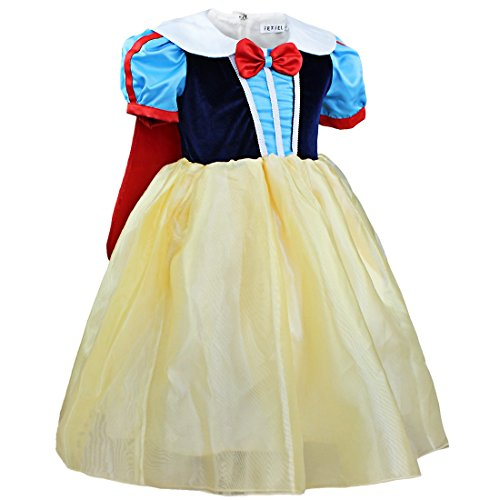 eewittchen Prinzessin Kostüm Verkleidung mit Umhang Fasching Karneval Halloween Blau+Gelb 104-110 (Schneewittchen Kostüm Für Halloween)