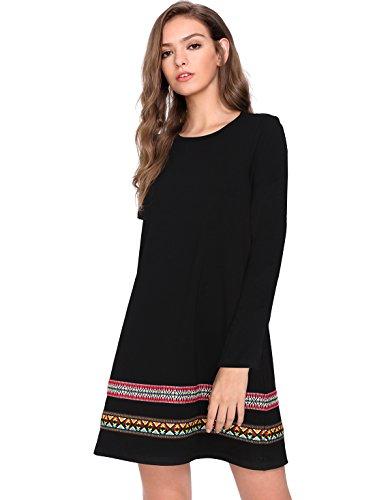 ROMWE Damen Langarm T-Shirt Baumwollkleid Hundhals Sommer Kleid Schwarz XL
