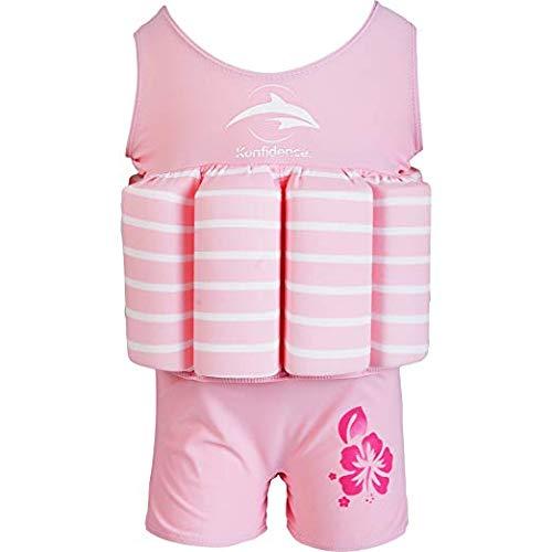 (Konfidence Badeanzug mit Schwimmhilfe 4 - 5 Jahre Rosa - Pink Breton Stripe)