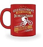 Shirtee Fahrradfahrer Radfahrerin Radler Mountainbike Rennrad Glück Fahrrad kaufen Geschenk - Tasse -M-Rot