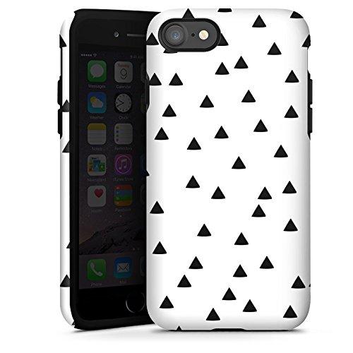 Apple iPhone X Silikon Hülle Case Schutzhülle Dreiecke Schwarz-Weiß Muster Tough Case glänzend