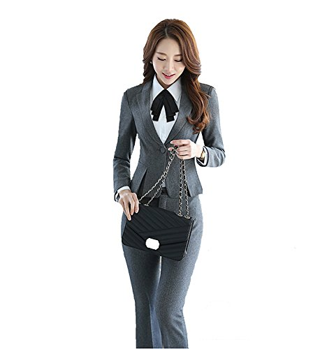 SK Studio Damen Business Hosenanzuge Slim Fit Blazer Reverskragen Karriere Hosen Anzug Set Grau 34 Tag L