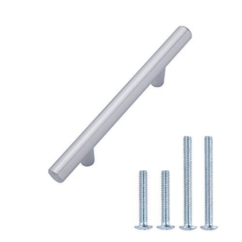AmazonBasics - Tirador de armario en forma de barra, tipo europeo (1,27 cm de diámetro), 13,66 cm de longitud (centro del orificio de 7,62 cm), Cromo pulido, Paquete de 10