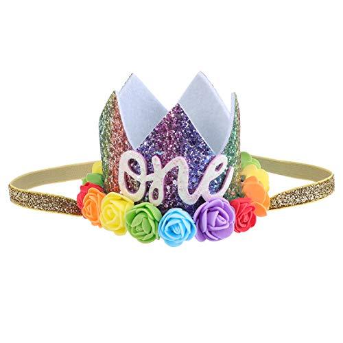 TOYANDONA Baby Geburtstag Krone Foto Requisiten Haarband Kopfbedeckung Blume Glitter Krone Haarband Kopfbedeckung für Geburtstagsparty (eine)