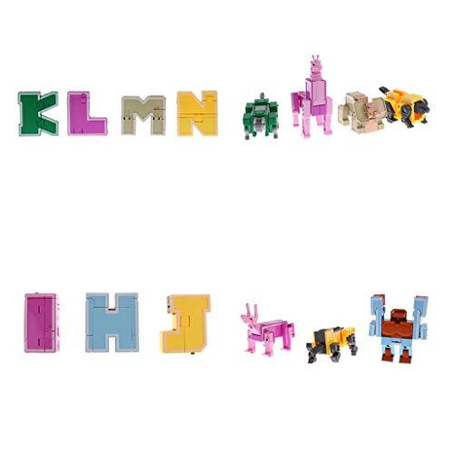 Non brand Homyl 7pcs Lettere Inglesi Che Trasformano Educativo Giocattolo Robot per Bambini Kid Gioco Display
