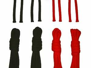 Baumwollseil Set - 2 x 3m Rot, 2 x 3m Schwarz - 8mm - , Sicherung an Seilenden: keine