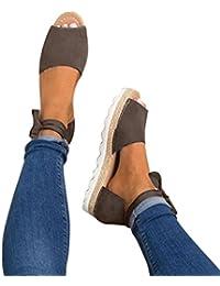 HARRYSTORE Las señoras para mujer atan para arriba el tamaño grueso de las sandalias del día de fiesta de las espadillas