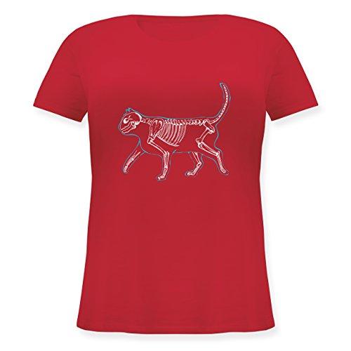 (Katzen - Spooky cat - L (48) - Rot - JHK601 - Lockeres Damen-Shirt in großen Größen mit Rundhalsausschnitt)
