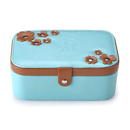 Womdee Small Leather Travel Schmuck Box, Four-Leaf Clover Jewelry Box Multi-Function Button Travel Storage Bag Double-Layer Small Jewelry Storage Box 18.2x11.2x8CM Blau