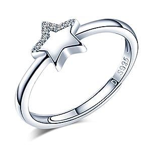 Yumilok 925 Sterling Silber Zirkonia Stern Offener Ring Jahrestag Verlobungsring für Damen Mädchen, Größe 49-57 Verstellbar