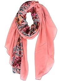 dc95c445ee58 DAMILY Coton Châle Foulard Etole Echarpe avec Fleurs Brodées pour Femmes  Multicolores