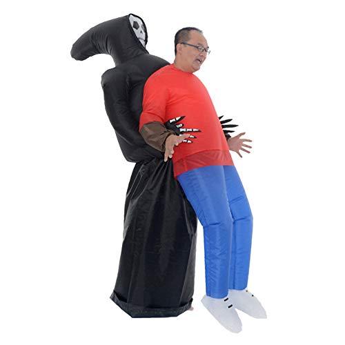 Glomixs aufblasbare Grim Reaper Kostüm, beängstigend lustige Blow Up Anzug Cosplay für Frau Erwachsene Maskerade Halloween Party Festival Bühne Performance für Halloween-Partys Batterie betrieben (Kinder Beängstigend Alien Kostüm)