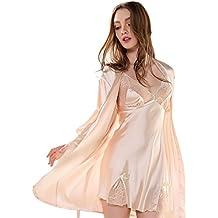 Aivtalk (Set/2 Piezas) Mujer Camisón Vestido Seda Encaje Pijama con Bata Ropa de Dormir de Escote en V Lencería - Talla M/L/XL 4 Colores a Elegir