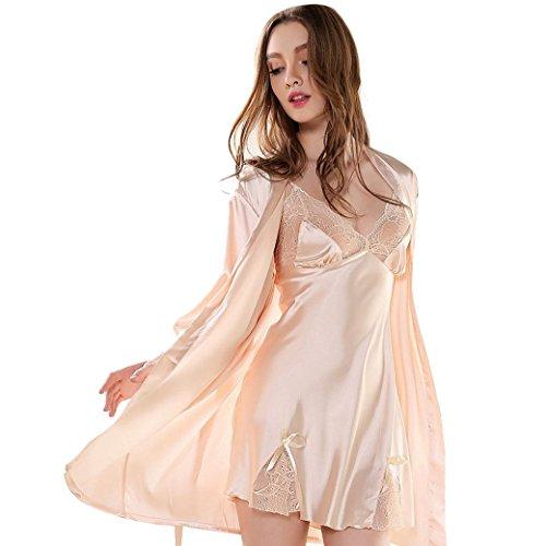 2 Stück Zwei Stück Pyjama Set (AIVTALK Damen Sleepwear Shirt und Robe Spitze 2 Stücken Pyjamas Set Langarm Imitation Seide Nachtwäsche Nachtkleid Lace Schlafanzug Größe M - Apricot)