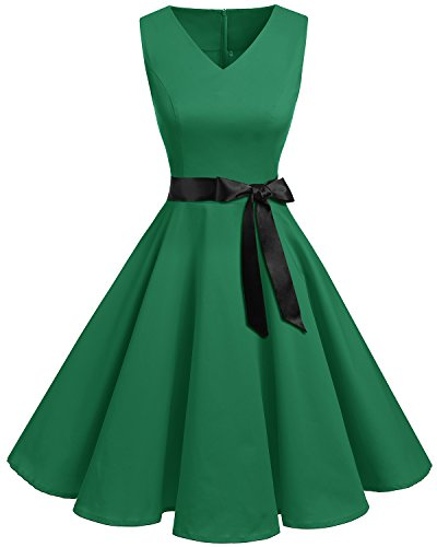bridesmay Damen Vintage 1950er Rockabilly Ärmellos Retro Cocktailkleid Partykleid Green 4XL