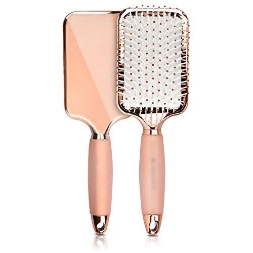 Navaris spazzola piatta per capelli - spazzola effetto liscio per asciugare stirare capelli corti e lunghi paddle brush con manico in gel - oro rosa