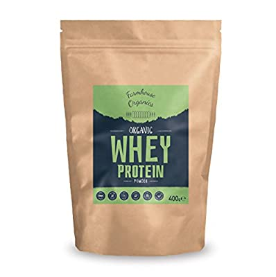 FARMHOUSE ORGANICS Organic Whey Protein Powder: 80% Protein Concentrate, Grass Fed, Gluten Free, Soy Free, Additive Free, Hormone Free, Nut Free, GMO Free, Vegetarian, Certified Organic, Unflavoured, 400g from Farmhouse Organics