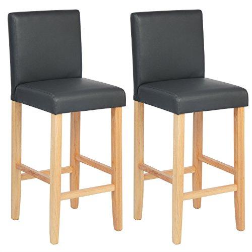 WOLTU BH67gr-2 Barhocker Bistrostuhl Holz Kunstleder Bistrohocker mit Lehne, 2er Set,helle Beine aus Massivholz, Antirutschgummi, dick gepolsterte Sitzfläche aus Kunstleder, Grau -