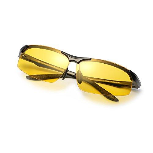 Nachtsichtbrille Männer Frauen Randlose Polarisierte Sport Design Brille Metallrahmen (Shwarz)